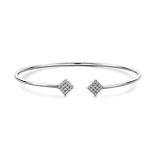 Miore Damen Sterling Silber (925) Designer Pavé Armreif Armband mit Brillantschliff Zirkonia