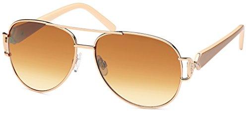 Lackierte Damen Pilotensonnenbrille mit 2 farbigen Bügeln und Schmuckscharnier UV400 Filter- Im Set...