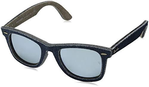 Ray-Ban Unisex Sonnenbrille Original Wayfarer Blue/Jeans Green Brown/Lightgreenmirrorsilver, One size (Herstellergröße: 50)
