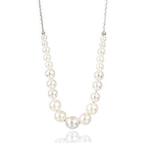 Swarovski Elements Pearl Collier élégant en fini 18 carats - Idéal pour les femmes et les filles - Livré dans une boîte cadeau