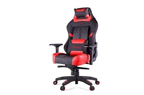 Executive-schwarz-roten Rahmen (N Seat Pro 600 Serie Executive Racing Design Computer-Gaming Bürodrehstuhl mit Lendenwirbelstütze und Kopfstützenkissen inklusive Modern rot/schwarz)