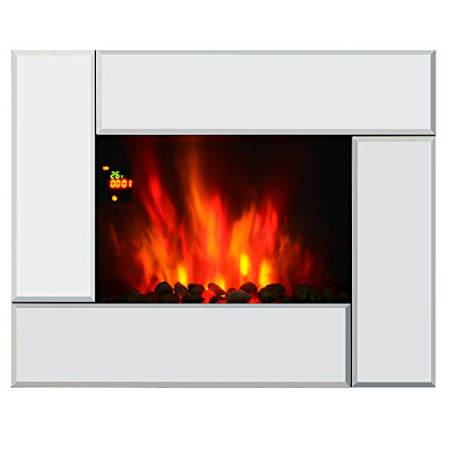 31BIrzSXAqL. SS500  - HOMCOM 1800W Wall Mounted Electric Fireplace Heater 7 Coloured LED Light Fire Glass Screen with Pebble Effect & Remote Control