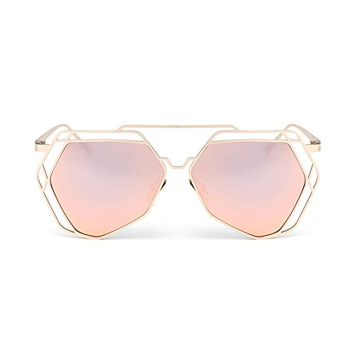 LINANA Sonnenbrillen personalisierte koreanische Straßenmode, polarisierte UV-Sonnencreme, große Metall-Polygon-Box, Damen Damen Reisen Travel Wayfarer Aviator (Color : Black)