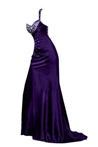 Sunvary Robe Longue Robe de Soir¨¦e Robe de Bal Epaule Unique Brillante avec Faux Diamants, Perles en Chiffon Chocolat