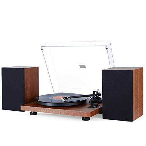 31BIx8bFNgL. SS500  - 1 BY ONE Turntable Hi-Fi System with 36 Watt Bookshelf Speakers, Vinyl Record Player with Magnetic Cartridge