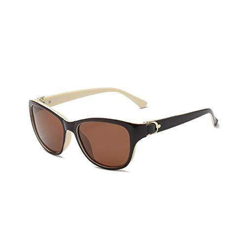 Vikimen Sportbrillen, Angeln Golfbrille,NEW Luxury Brand Design Cat Eye Polarisiert Sunglasses Womens Lady Elegant Sun Glasses Female Driving Eyewear 4-Beige-Coffee