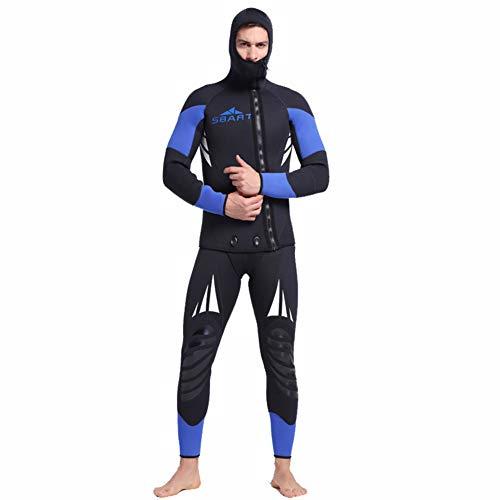 Minikuza 5mm Neopren 2-Pieces Kapuzen Super Stretch Tauchanzug, Lock Wasser halten warm UV-Schutz Lange Ärmel Männer Tauchen Haut Anzug - zum Schwimmen/Scuba Tauchen/Schnorcheln/Surfen,XL