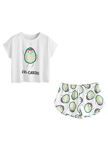 Pyjama Schlaf Shorts (DIDK Damen Schlaf Anzug Set mit Avocado-Druck Thirts und Shorts Pyjama Set Weiß XL)