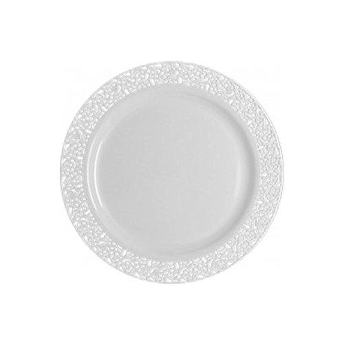 Decorline- Vaisselle de luxe à usage unique-Collection Inspiration- Blanc avec bord en dentelle -plastique rigid-Party-Jetable (Assiette 19cm)