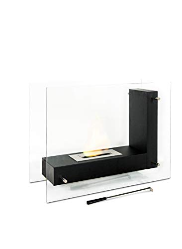 Stones Free-Standing Bio-Ethanol Fireplace, Black