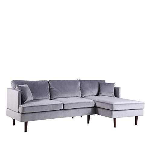 Bhd divano angolare moderno extra-large–colori diversi–tessuto–260x 94x 137cm grigio