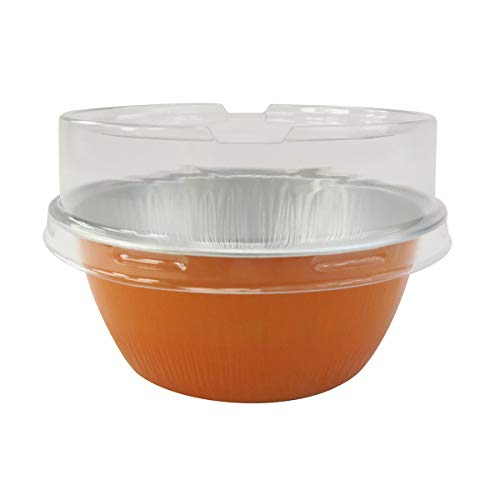 kitchendance Einweg Aluminium 4Oz ramekins- Stück vertikalen Farbe & Deckel Optionen With Stackable Lid Orange Orange Ramekin