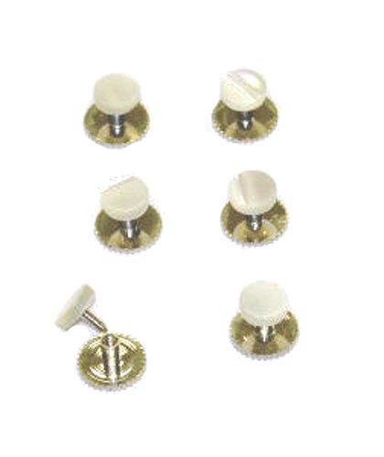 Lot de 6 boutons de manchette dans un coffret cadeau Argenté/perle