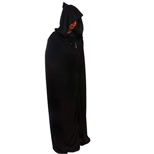 CYQAQ Halloween Kostüm Mantel Schwarz Mit Kapuze 170 cm Themen Prop Dekoration Cosplay Hexe Zubehör -