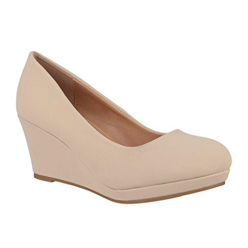 Elara Damen Pumps Keilabsatz Wedges Schuhe mit Plateau |Chunkyrayan B8011 Beige-38