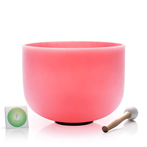 TOPFUND singen schalen 432Hz F notiz kristall klangschalen herz chakra rosa farbe 12 zoll (o - ring und hammer enthalten)