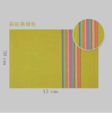 FERZA Home PVC45 * 30 Bunte bar europäischen isoliert tischset tischdecke pad westlichen Geschirr pad Platte Platz (Color : Green, Size : Square) Green Square Platte