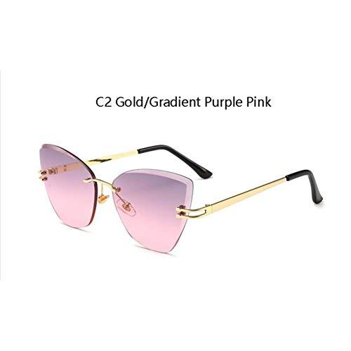 HYUHYU Cat Eye Sonnenbrillen des Grünen Tees Für Frauen Neue Trends Italienische Marke Frauen Schattiert Designer-Luxus-Sonnenbrillen Randlose Uv400