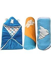 Gum-Tea, New Born Baby Fleece Hooded Blanket ,Blue ( Pack of 3 )