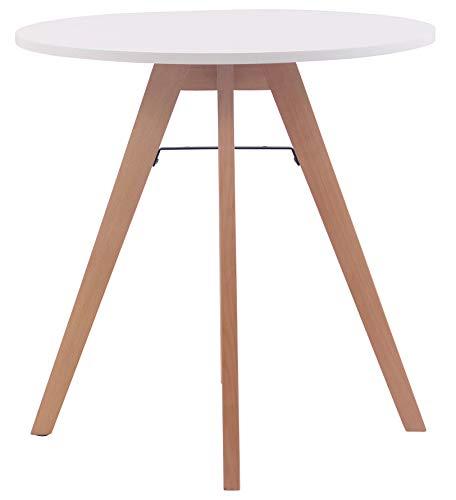 CLP Tavolo Tondo da Pranzo Viktor Design Scandinavo Moderno – Tavolino Tondo in MDF e Faggio 4 Gambe con Antiscivolo H 75 cm 60 cm