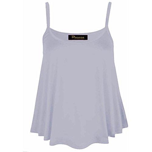 Femmes Caraco Sans Manche Swing Débardeur Uni Femmes Bretelles Évasé Haut Grande Taille 8-26 Blanc