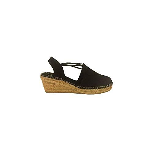 Toni Pons Espadrille - Tremp 37 Black Multi-strap Platform Sandal