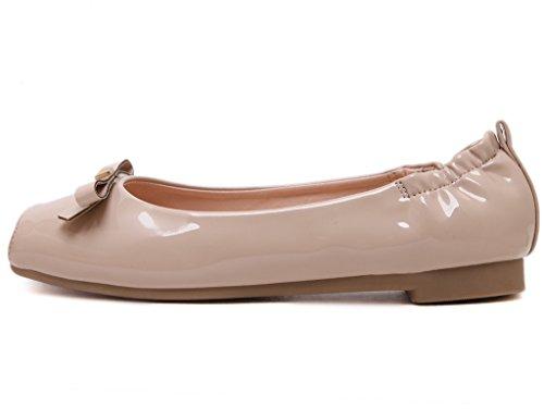 Fortunings JDS Soft-soled Doux bowknot à tête carrée Egg Casual chaussures Roll Blanc Cassé