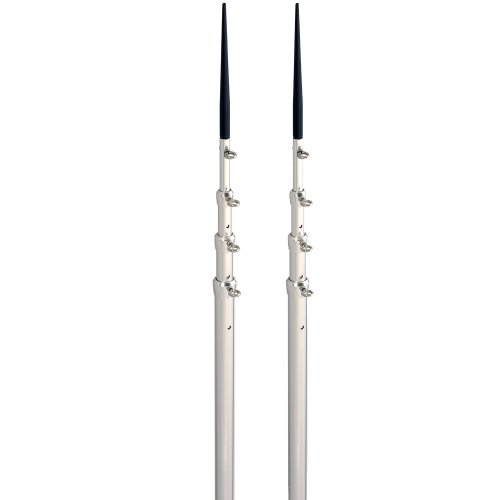 LEE'S 16.5' BRIGHT SILVER BLACK SPIKE TELESCOPIC POLES
