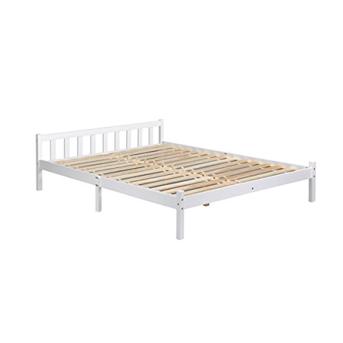 Lillyarn Double Bed Frame 4ft 6 Wooden Bed Base White