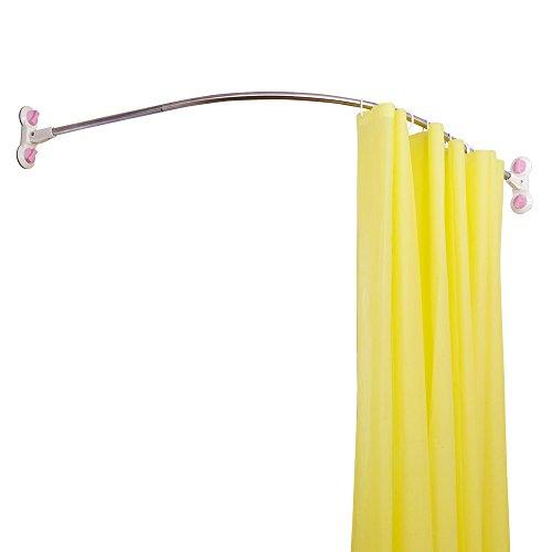 Baoyouni Badezimmer Duschvorhangstange Corner Curved Duschstange Edelstahl Pole Badewanne Dusche Vorhangstange Gewölbte Schiene Bar (Elfenbein, 133cm) (Badewanne Elfenbein)