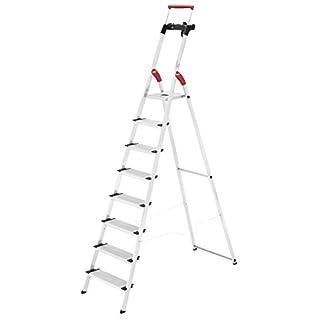 Hailo XXR ComfortLine Alu Stehleiter (8 XXL-Stufen, EasyClix, Ablageschale, ausziehbarer Haltebügel, bis 150 kg) 8030-807