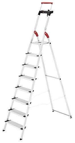 Hailo ComfortLine XXR, Alu-Haushaltsleiter, 8 XXL-Stufen, EasyClix, Ablageschale, ausziehbarer Haltebügel, bis 150 kg, made in Germany, 8030-807