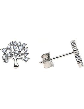 Sterling Silber & Kristall Baum des Lebens Ohrstecker