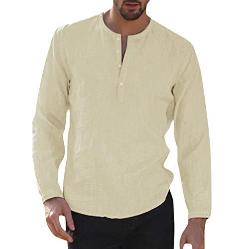 UINGKID Herren T-Shirt Kurzarm Slim fit Baggy Cotton Linen Solid Dreiviertel-Knopf Tasche Retro Shirts Tops Wellington Quad