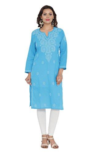 Ada Women's Cotton Blue Kurta (M197497_Medium)