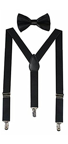 suspender in jet black colour with bow for mens,boys and girls