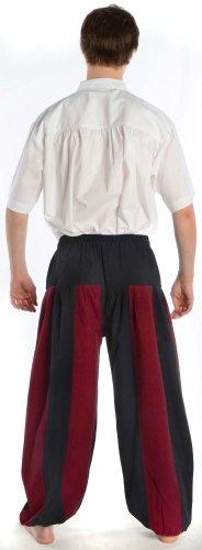 Hemad.De - Pantalon Médiéval Bicolore En Pur Coton - Pantalon De Pirate - Noir Et - Bordeaux - S-Xxxl noir-rouge
