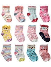 12 Paar Kleinkind Mädchen Rutschfeste Socken Nette Baumwolle mit Griffen, Baby Mädchen Anti-Rutsch-Socken (12 Paar, 0-1 Jahre)