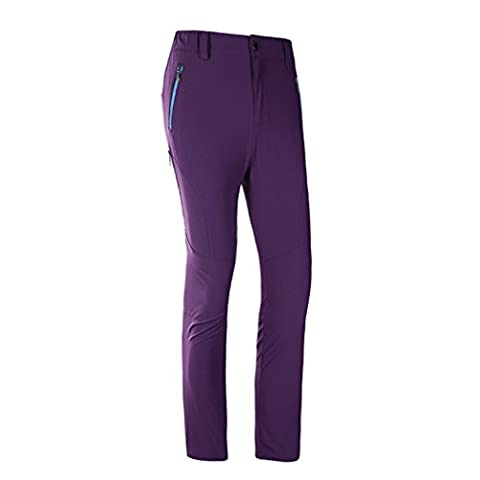 WALK-LEADER Womens Outdoor Relaxed-fit Lightweight Fast Dry Pants Camping Trousers Size M Purple