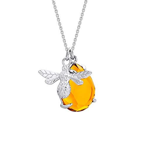 YL Jewelry Halskette mit Honiganhänger Silber Honig Bernstein 46 cm -
