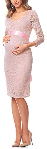 Be Mammy Damen Umstandskleid Maternity Schwangerschaftskleid BE20-170 (Puderrosa)