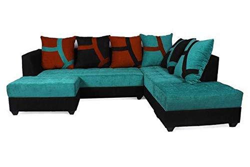 Fursure L-Shape 5 Seater Sofa Cum Bed (3 Seater + 2 Seater + 2 Puffy) Pack (Green & Black)