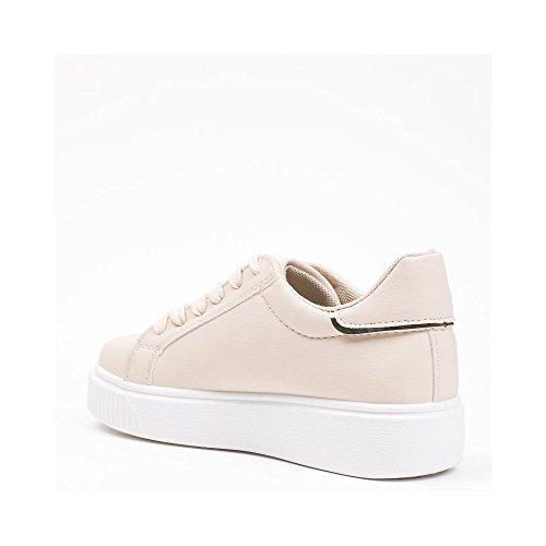 Ideal Shoes - Baskets basses en similicuir Tahnee Beige