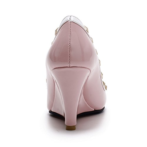 Adee cales pour femme Rivet PU Pompes Chaussures Rose