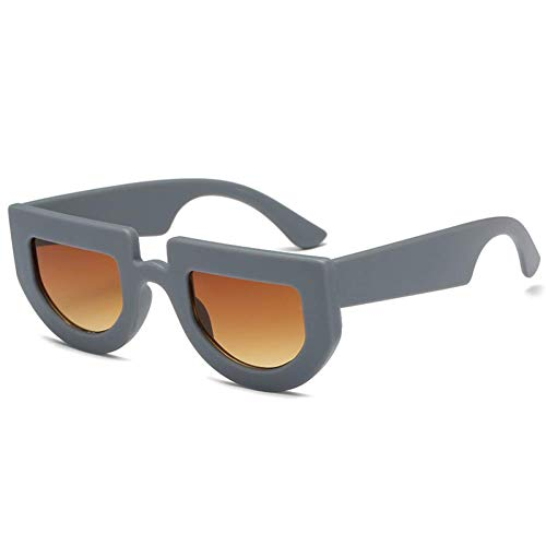 YHEGV Sonnenbrille Frauen Cool Übergroße Sonnenbrille Retro Flat Top Dicken Rahmen Sonnenbrille Männer Vintage Einzigartige Schattierungen