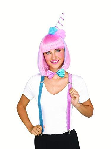 Kostüm Süßigkeit - shoperama 3-teilige Kostüm-Zubehör Set Candy Zuckerwatte Popcorn EIS-Tüte Haarreif Fliege Hosenträger Glitzer Süßigkeiten, Variante:Zuckerwatte