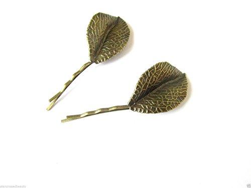 2 x Épingles à cheveux clips Bobby Vintage Bronze Hêtre Feuille Feuilles Automne doré K42 * * * * * * * * exclusivement vendu par – Beauté * * * * * * * *