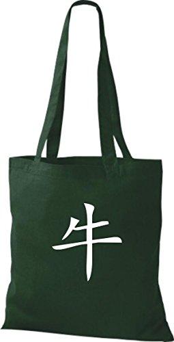 ShirtInStyle Stoffbeutel Chinesische Schriftzeichen Büffel Baumwolltasche Beutel, diverse Farbe bottle green