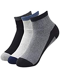 Balenzia Men Cushioned High Ankle Socks for Sports- Dark Grey, Light Grey,Black -Pack of 3