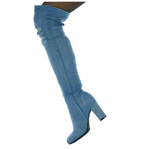 blocco da Denim a Jeans 8 CM 5 alto donna Scarpe strappati Blu flessibile Tacco cavalier Stivali Moda tacco Angkorly Alti fwAqnOCx